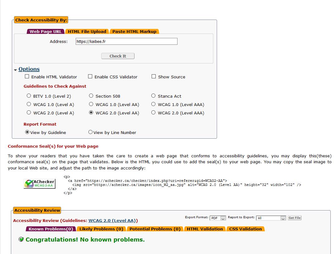 AChecker screenshot sur le site Kaibee